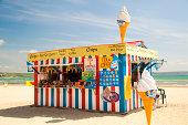 Beach Kiosk on Weymouth Beach, Dorset, UK.