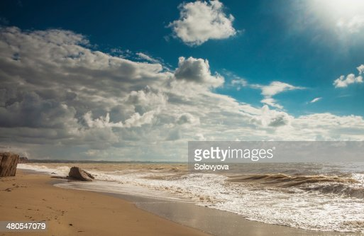 Beach landscape in storm day : Stock Photo