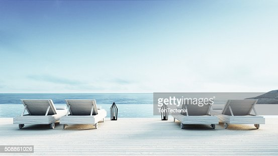 Beach lounge - Sundeck on Sea view : Stock Photo