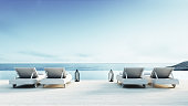 Beach lounge - Sundeck on Sea view / 3d render