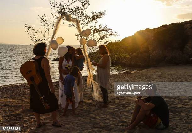 Beach marriage in the sunset at Rena Majore beach on September 9 2014 in Cagliari Sardinia Italy