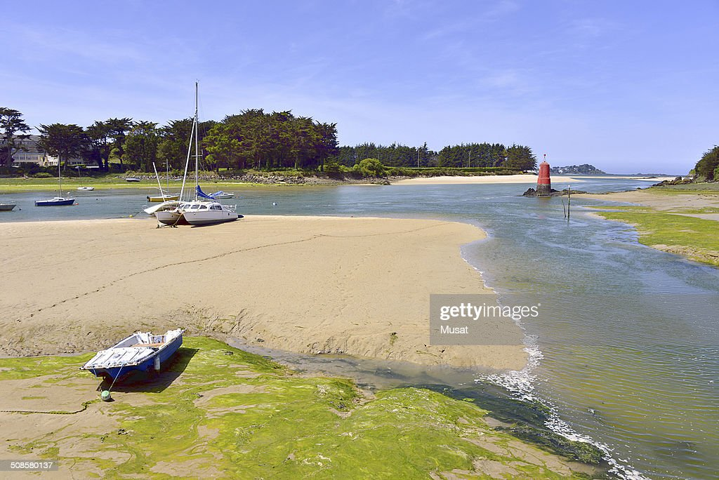 Beach of Locquirec in France : Stock Photo