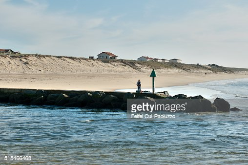 Beach of Mimizan of Landes department in France