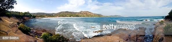 Beach of Rondinara near PortoVecchio in the CorseduSud department of Corsica November 2014