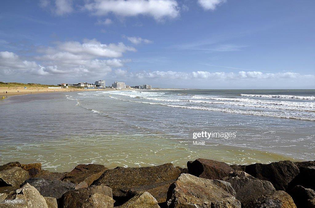 Strand von Saint Gilles-Croix-de-Vie in Frankreich : Stock-Foto