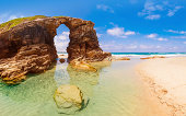 Beach of the Cathedrals (As Catedrais beach) or Beach of the Holy Waters, located in Ribadeo, Galicia - Spain.