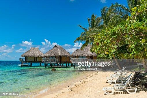 Beach, overwater bungalows, Bora Bora, French Polynesia