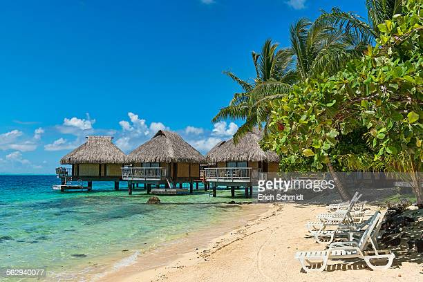Beach, overwater bungalows, Bora Bora, French Polynesia