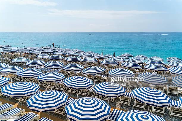 Beach parasols, Nice, Cote d'Azur, France