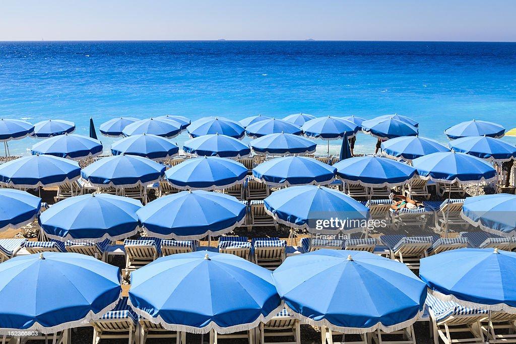 Beach parasols, Nice : Stock Photo