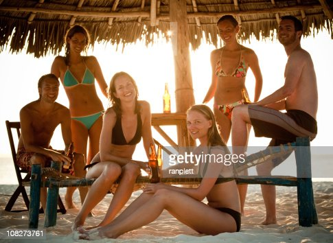 Beach Party at Sunset : Stock Photo