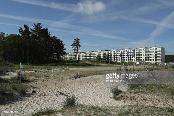 A beach path leads to holiday apartments under construction in Block 1 of the Prora building complex on Ruegen Island on June 15 2017 in Binz Germany...
