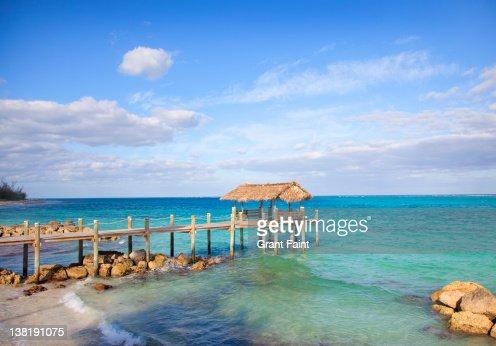 Beach pier near sea. : Stock Photo