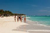 Beach Playa del Carmen Riviera Maya Yucatan Peninsula Caribbean Sea Mexico