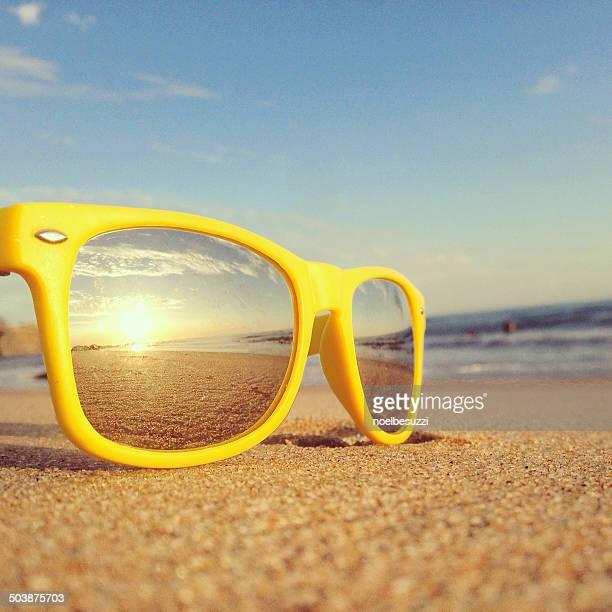 Beach reflection in sunglasses