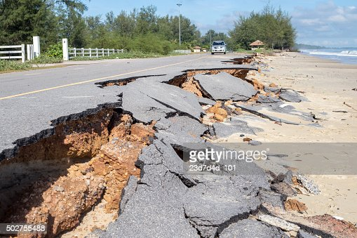 Beach Road slide along the beach  to water erosion : Stock Photo