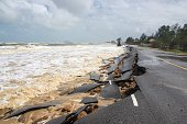 Beach Road slide by water and wind