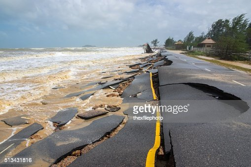 Beach Road slide by water and wind : Stock Photo