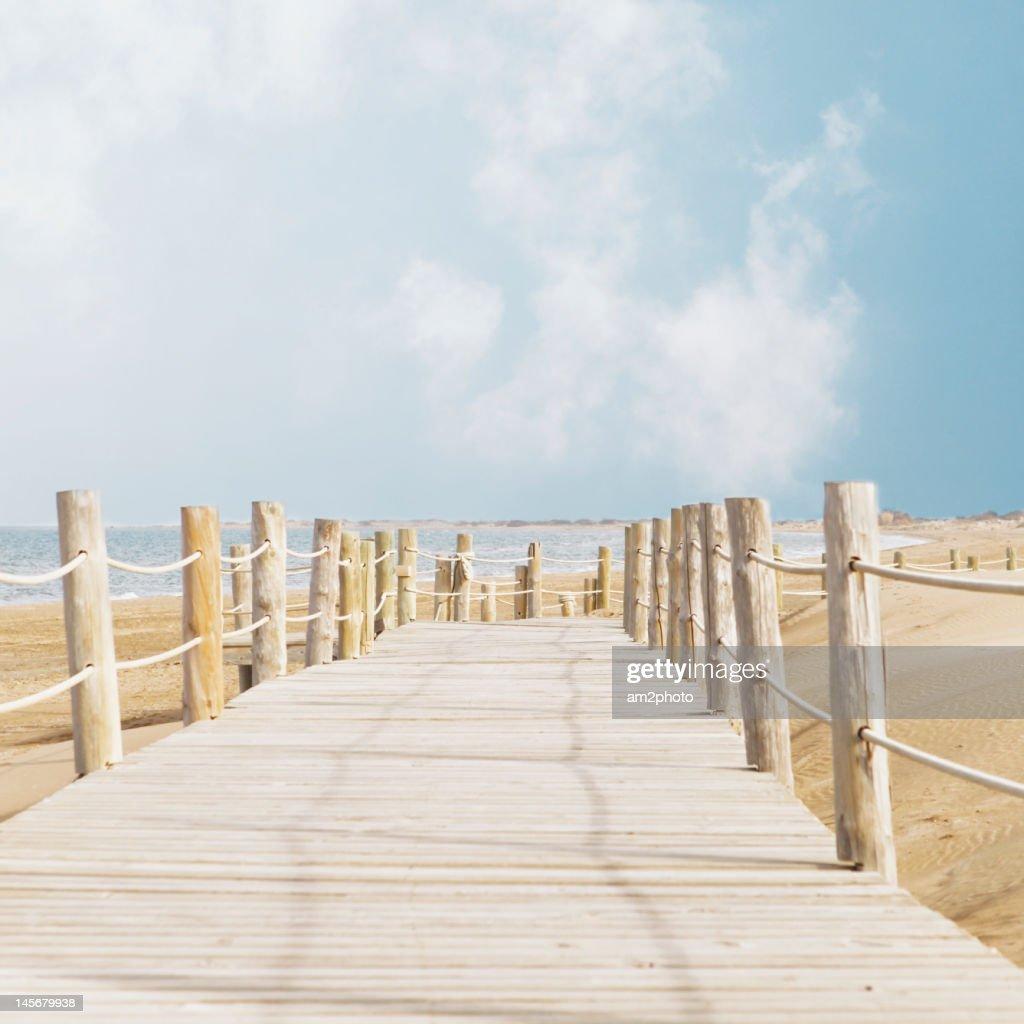 Beach road to sea : Stock Photo