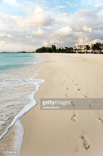 Beach scene footprints