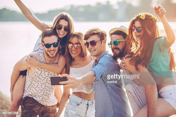 selfie sulla spiaggia