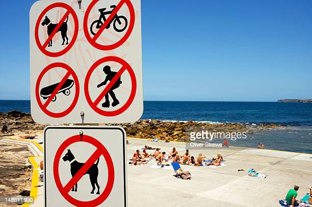 Beach sign prohibiting certain activities at Clovelly.