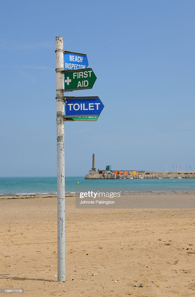 Beach signs Margate : Stock Photo