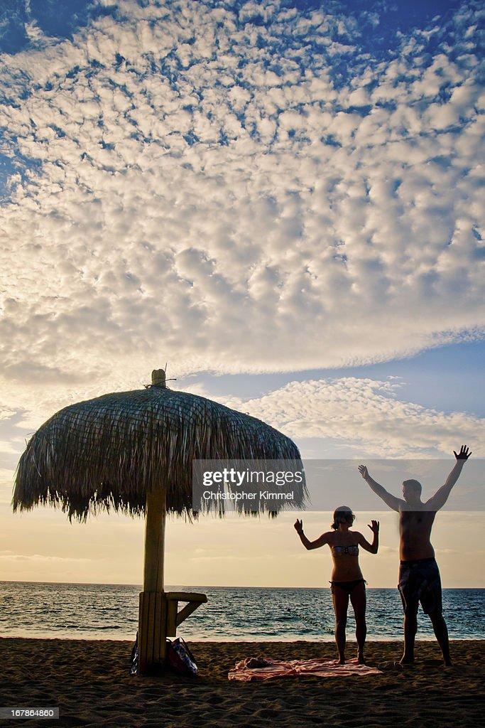 Beach Silhouette : Stock Photo