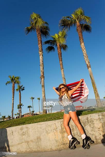 Beach Skater Girl With Flag