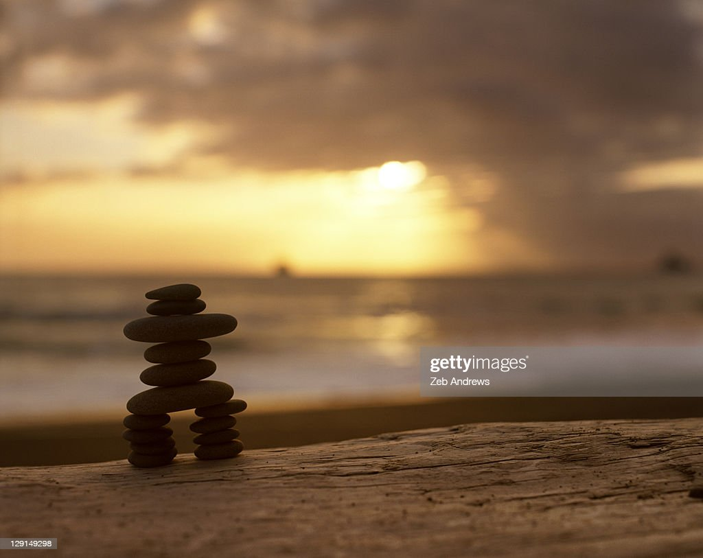 Beach stones on driftwood log at sunset : Stock Photo