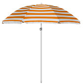 Orange striped beach umbrella isolated on white. Clipping path included.
