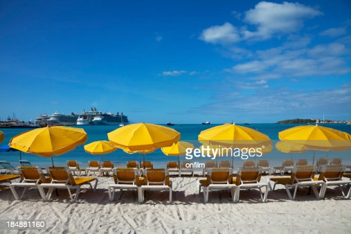 Beach sun loungers and sunshades