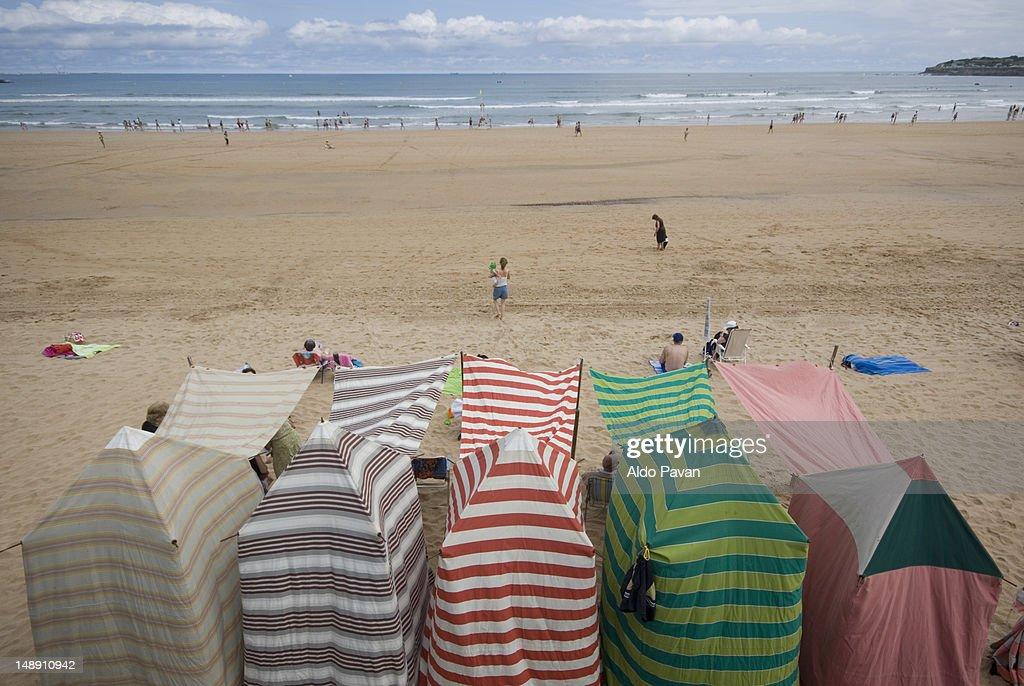 Beach tents. : Stock Photo