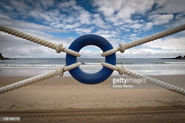 Beach through lifeguard tied with ropes