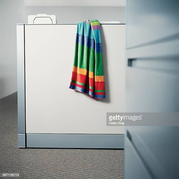 Beach Towel Hanging on Cubicle