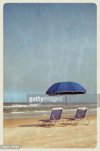 Beach Umbrella and Chairs - Vintage Postcard
