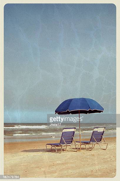 Beach Umbrella and Chairs - Vintage Postcard