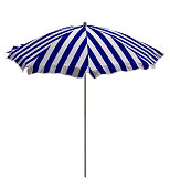 Blue-white striped beach umbrella isolated on white. Clipping path included.