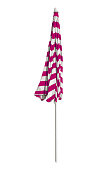 Closed pink striped beach umbrella isolated on white. Clipping path included.