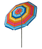 Colorful striped beach umbrella isolated on white. Clipping path included.