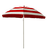 Red striped beach umbrella isolated on white. Clipping path included.