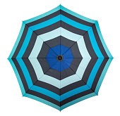 Beach umbrella isolated on white, top view. Clipping path included.