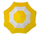 Opened beach umbrella with yellow and white stripes isolated on white. Top view. Clipping path included.