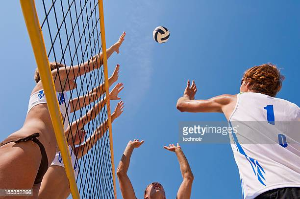 Beach volley action