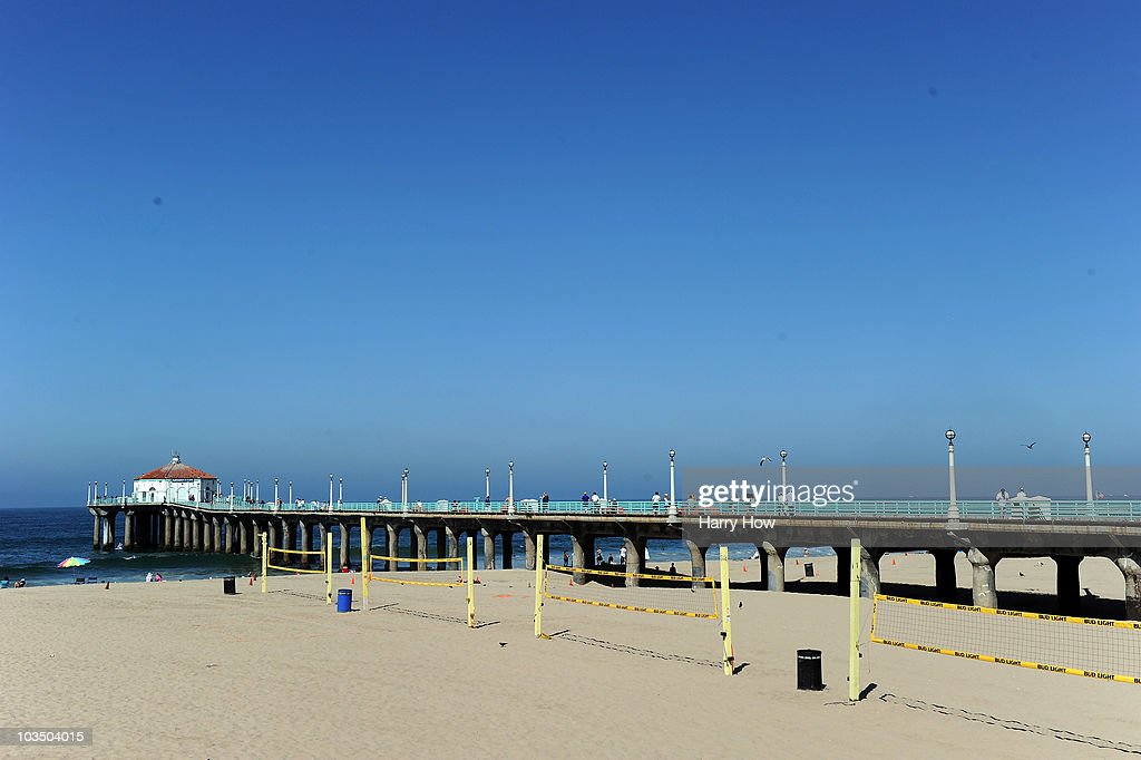Beach volleyball courts sit empty after qualification for the Manhattan Beach Open was cancelled at Manhattan Beach on August 20 2010 in Manhattan...