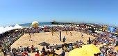 Manhattan Beach Open Overall view of stadium court during match at Manhattan Beach Pier Manhattan Beach CA CREDIT Robert Beck