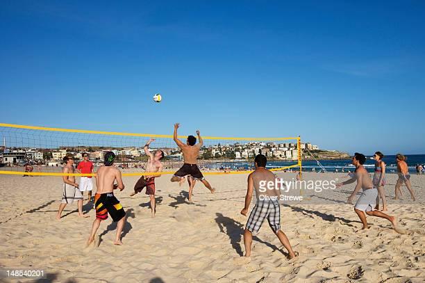 Beach volleyball on Bondi beach.