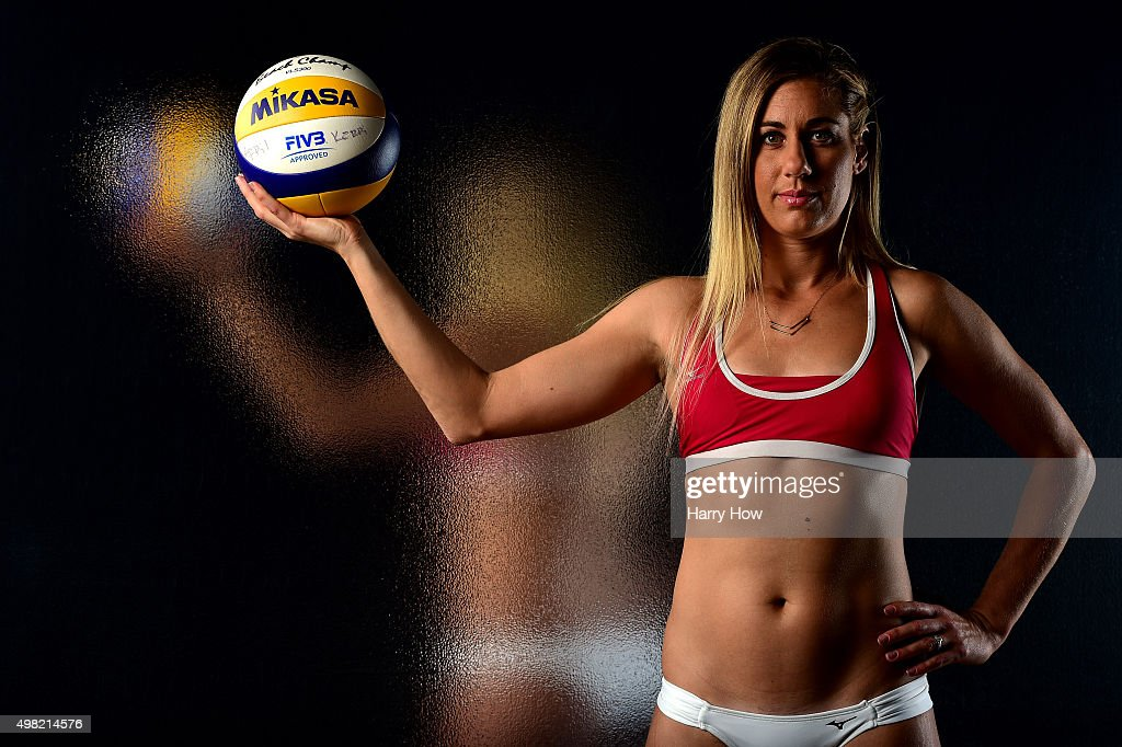 Beach volleyball player April Ross poses for a portrait at the USOC Rio Olympics Shoot at Quixote Studios on November 21, 2015 in Los Angeles, California.