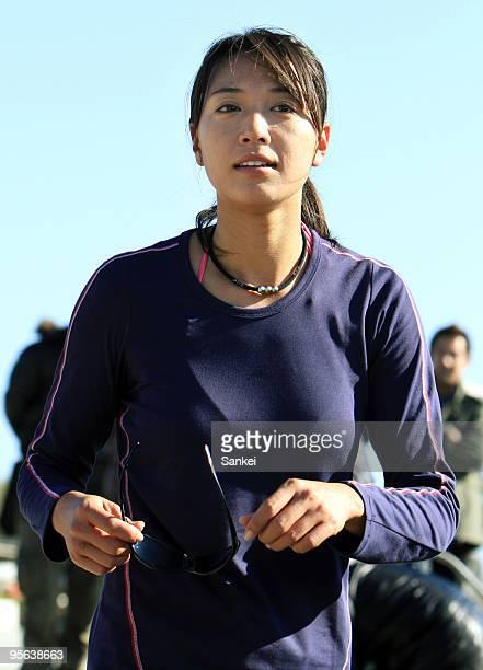 Beach Volleyball player Miwa Asao smiles after training at Shonan Hiratsuka Beach Park on January 7 2010 in Hiratsuka Kanagawa Japan
