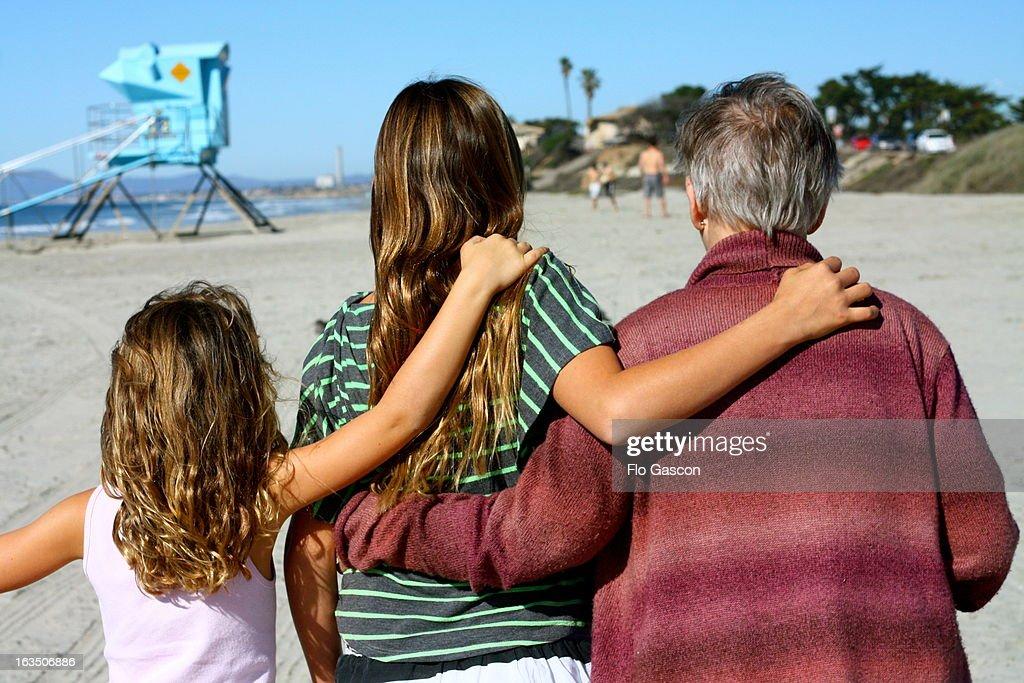 Beach Walk with Grandma : Stock Photo